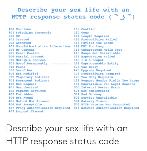 Partial: Describe your  sex life with an  HTTP response status code (° J°)  100 Continue  409 Conflict  101 Switching Protocols  410 Gone  411 Length Required  200 OK  412 Precondition Failed  201 Created  202 Accepted  413 Payload Too Large  414 URI Too Long  203 Non-Authoritative Information  415 Unsupported Media Type  416 Range Not Satisfiable  417 Expectation Failed  418 I'm a teapot  422 Unprocessable Entity  425 Too Early  426 Upgrade Required  428 Precondition Required  429 Too Many Requests  431 Request Header Fields Too Large  451 Unavailable For Legal Reasons  204 No Content  205 Reset Content  206 Partial Content  300 Multiple Choices  301 Moved Permanently  @matijakomesar  302 Found  303 See Other  304 Not Modified  307 Temporary Redirect  308 Permanent Redirect  400 Bad Request  401 Unauthorized  500 Internal Server Error  402 Payment Required  403 Forbidden  501 Not Implemented  502 Bad Gateway  503 Service Unavailable  404 Not Found  504 Gateway Timeout  505 HTTP Version Not Supported  511 Network Authentication Required  405 Method Not Allowed  406 Not Acceptable  407 Proxy Authentication Required  408 Request Timeout Describe your sex life with an HTTP response status code