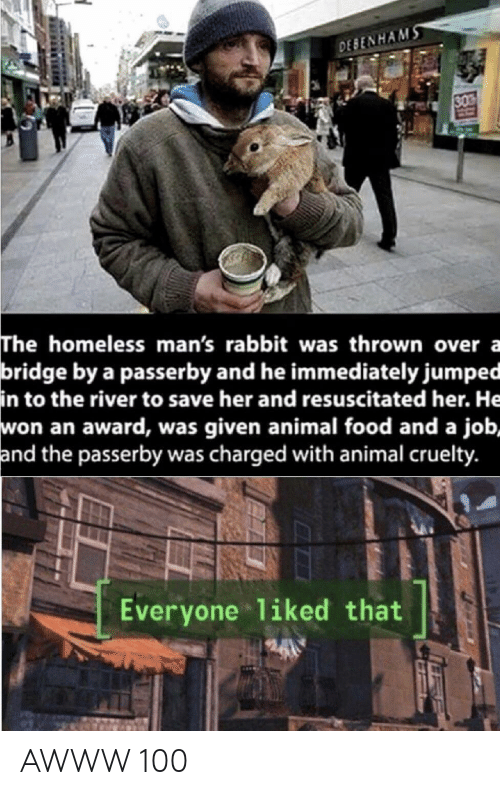 Food, Homeless, and Animal: DESENHAMS  30  The homeless man's rabbit was thrown over a  bridge by a passerby and he immediately jumped  in to the river to save her and resuscitated her. He  won an award, was given animal food and a job,  and the passerby was charged with animal cruelty.  Everyone 1iked that AWWW 100