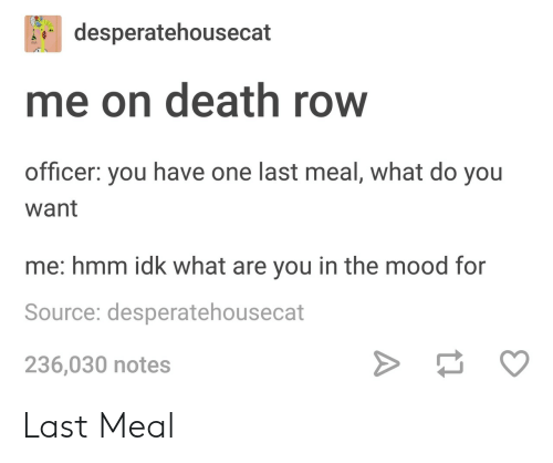 Mood, Death, and Last Meal: desperatehousecat  me on death row  officer: you have one last meal, what do you  want  me: hmm idk what are you in the mood for  Source: desperatehousecat  236,030 notes Last Meal