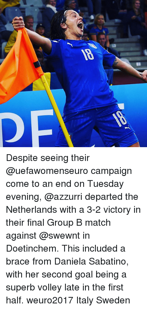 departed: Despite seeing their @uefawomenseuro campaign come to an end on Tuesday evening, @azzurri departed the Netherlands with a 3-2 victory in their final Group B match against @swewnt in Doetinchem. This included a brace from Daniela Sabatino, with her second goal being a superb volley late in the first half. weuro2017 Italy Sweden