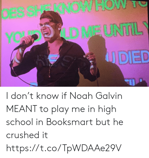 Noah: DESSHRRNOW  OW  D MEUNTIL  YOW P  UDED I don't know if Noah Galvin MEANT to play me in high school in Booksmart but he crushed it https://t.co/TpWDAAe29V