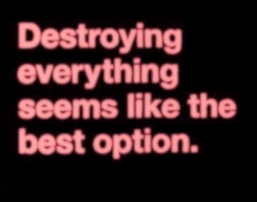 Best, Option, and The Best: Destroying  everything  seems like the  best option.