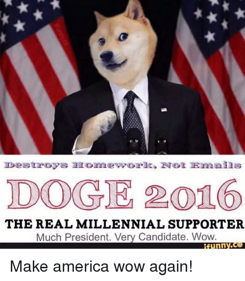Eroticity: Destroys made work, Erot Ernans  TDOGE 2016  THE REAL MILLENNIAL SUPPORTER  Much President. Very Candidate. Wow.  funny Make america wow again!