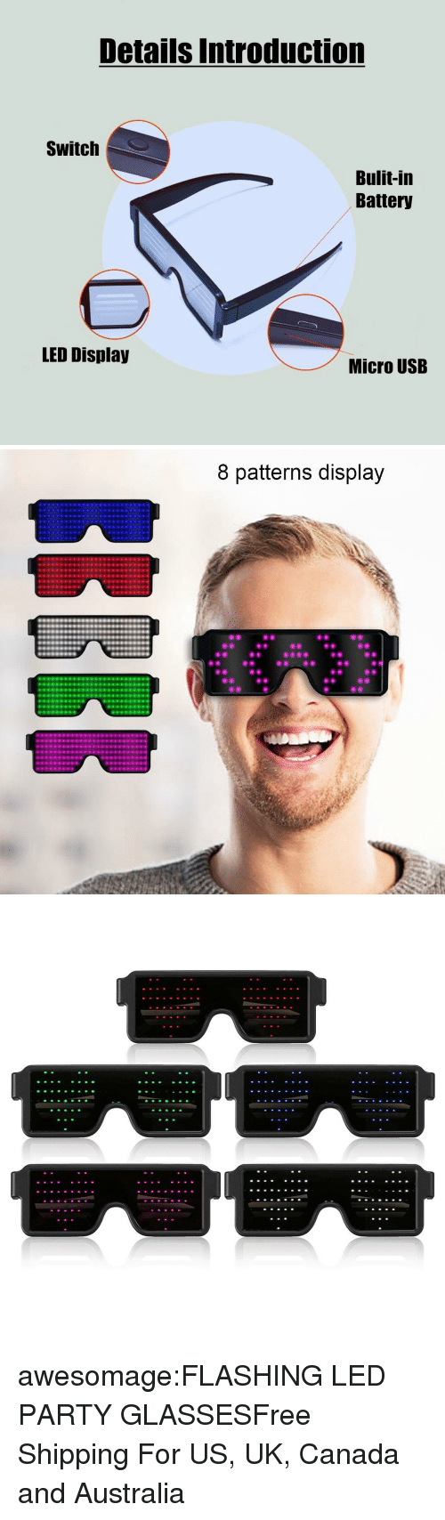 Introduction: Details Introduction  Switch  Bulit-in  Battery  LED Display  Micro USB   8 patterns display awesomage:FLASHING LED PARTY GLASSESFree Shipping For US, UK, Canada and Australia