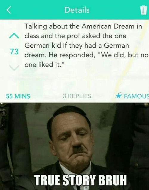 """Bruh, True, and American: Details  Talking about the American Dream in  German kid if they had a German  one liked it.""""  A class and the prof asked the one  73 dream. He responded, """"We did, but no  55 MINS  3 REPLIES  FAMOUS  TRUE STORY BRUH"""