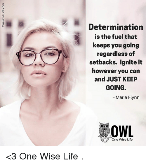 ignite: Determination  is the fuel that  keeps you going  regardless of  setbacks. ignite it  however you can  and JUST KEEP  GOING.  Maria Flynn  OWL  One Wise Life <3 One Wise Life  .
