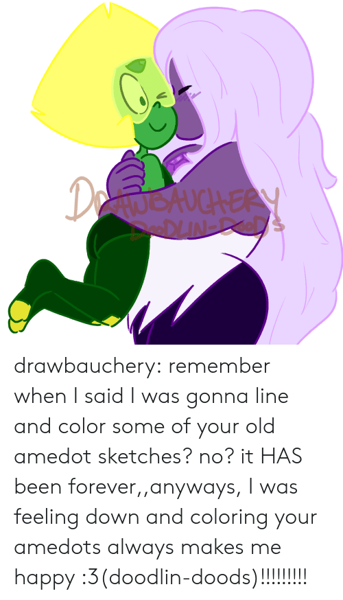 Doods: DetwokuchERY drawbauchery:  remember when I said I was gonna line and color some of your old amedot sketches? no? it HAS been forever,,anyways, I was feeling down and coloring your amedots always makes me happy :3(doodlin-doods)!!!!!!!!!