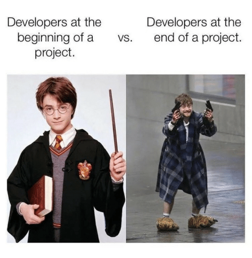 project: Developers at the  beginning of a  project.  Developers at the  end of a project.  VS.