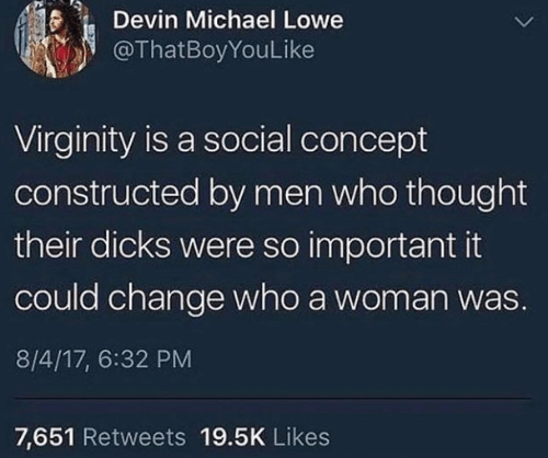 Men Who: Devin Michael Lowe  @ThatBoyYouLike  Virginity is a social concept  constructed by men who thought  their dicks were so important it  could change who a woman was  8/4/17, 6:32 PM  7,651 Retweets 19.5K Likes