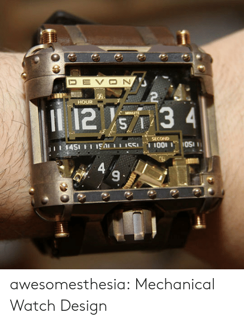 mechanical: DEVON  2  HOUR  12 s7 3 4  MINUTE  SECOND  1451 11 19A 551I001 OS  A 9  図く awesomesthesia:  Mechanical Watch Design