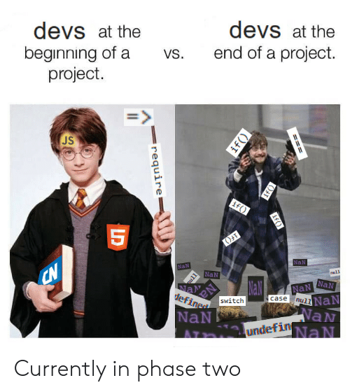 Null, Project, and Phase: devs at the  beginning of a  project.  devs at the  end of a project.  vs.  JS  NaN  NaN  NaN  null  NaN Currently in phase two