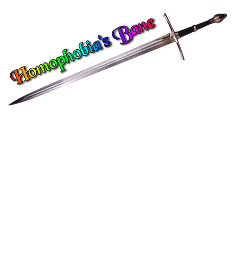 those: dgcatanisiri:  wowhead:  prideknights: This is Homophobia's Bane. Those who wield it fight for LGBTQ+ rights. Reblog to wield this powerful sword.