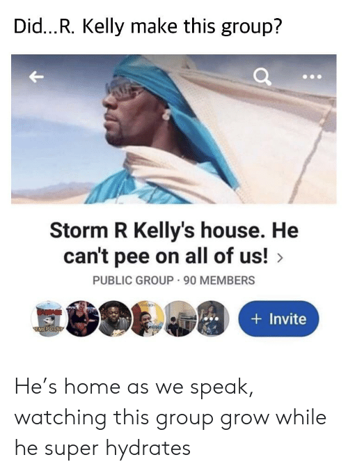 R. Kelly, Home, and House: Did...R. Kelly make this group?  Storm R Kelly's house. He  can't pee on all of us!  PUBLIC GROUP 90 MEMBERS  CAMBAGE  Invite  EMEPORUT He's home as we speak, watching this group grow while he super hydrates