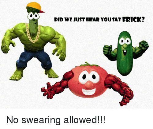 No Swearing: DID WE JUST HEAR YOUSAY FRICK? No swearing allowed!!!