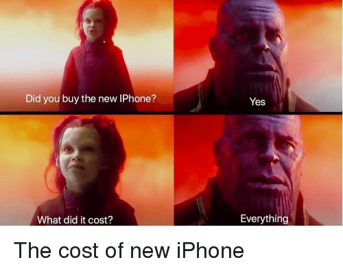 the new iphone: Did you buy the new IPhone?  Yes  What did it cost?  Everything The cost of new iPhone