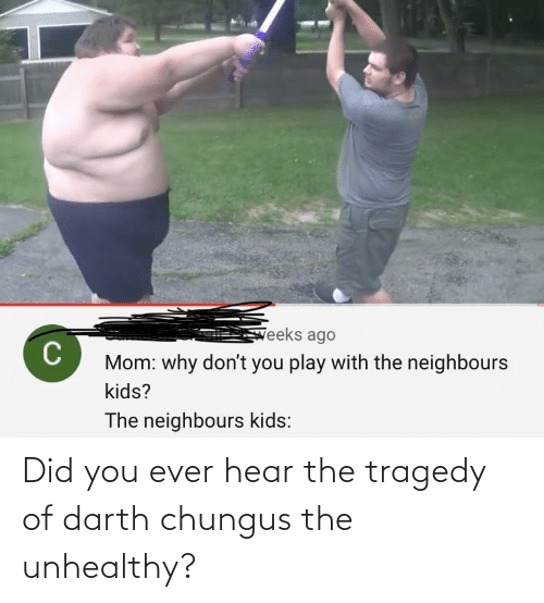 tragedy: Did you ever hear the tragedy of darth chungus the unhealthy?