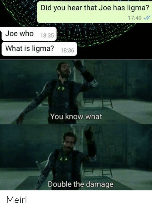 hear that: Did you hear that Joe has ligma?  17:49  Joe who 18:35  What is ligma?  18:36  You know what  Double the damage Meirl