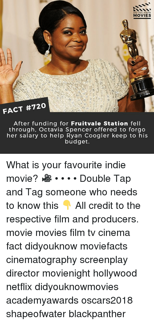 Ryan Coogler: DID YOU KN  MOVIES  At  FACT #720  After funding for Fruitvale Station fell  through, Octavia Spencer offered to forgo  her salary to help Ryan Coogler keep to his  budget. What is your favourite indie movie? 🎥 • • • • Double Tap and Tag someone who needs to know this 👇 All credit to the respective film and producers. movie movies film tv cinema fact didyouknow moviefacts cinematography screenplay director movienight hollywood netflix didyouknowmovies academyawards oscars2018 shapeofwater blackpanther