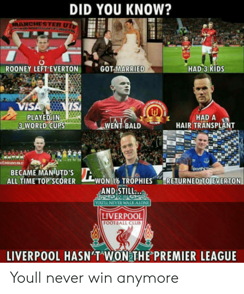 rooney: DID YOU KNOW?  ANCHESTER UT  ROONEY LEFT EVERTON  GOT-MARRIE  HAD 3 KIDS  VI  PLAYED IN  3 WORLD CUPS  WENL BALD HIR THADSPL  HAIR TRANSPLANT  Emirats FAC  BECAME MANUTDS  ALL TIME TOP SCORER WON T6 TROPHIESRETURNED TO EVERTON  AND STILL..  ou LL NEVER WALK ALONE  LIVERPOOL  FOOTBALL CLUB  LIVERPOOL HASN'T WON THE PREMIER LEAGUE Youll never win anymore