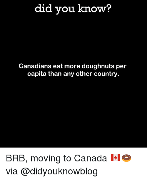 Moving To Canada: did you know?  Canadians eat more doughnuts per  capita than any other country BRB, moving to Canada 🇨🇦🍩 via @didyouknowblog