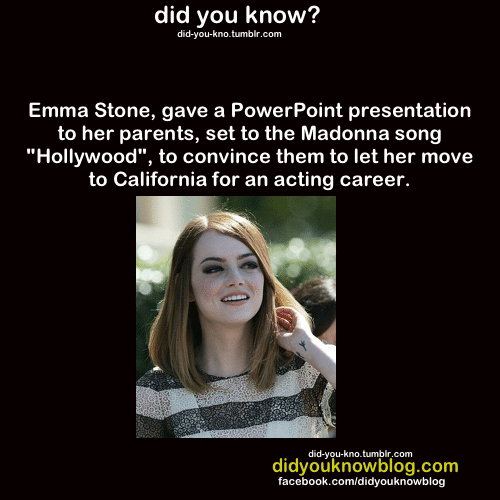 """Move To: did you know?  did-you-kno.tumblr.com  Emma Stone, gave a PowerPoint presentation  to her parents, set to the Madonna song  """"Hollywood"""", to convince them to let her move  to California for an acting career.  did-you-kno.tumblr.com  didyouknowblog.com  facebook.com/didyouknowblog"""