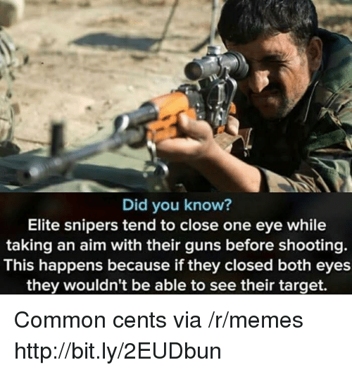 Guns, Memes, and Target: Did you know?  Elite snipers tend to close one eye while  taking an aim with their guns before shooting.  This happens because if they closed both eyes  they wouldn't be able to see their target. Common cents via /r/memes http://bit.ly/2EUDbun