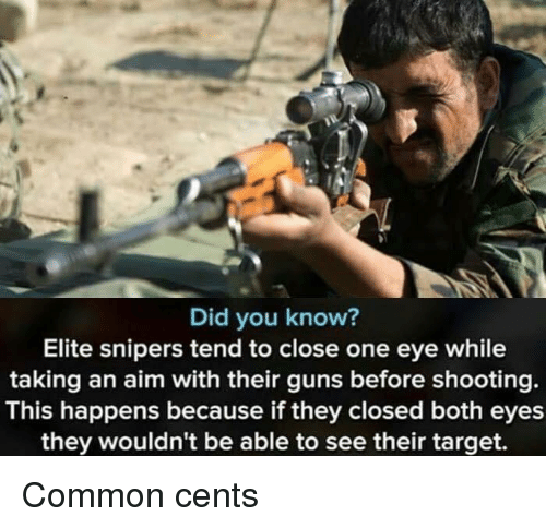 Guns, Target, and Common: Did you know?  Elite snipers tend to close one eye while  taking an aim with their guns before shooting.  This happens because if they closed both eyes  they wouldn't be able to see their target. Common cents