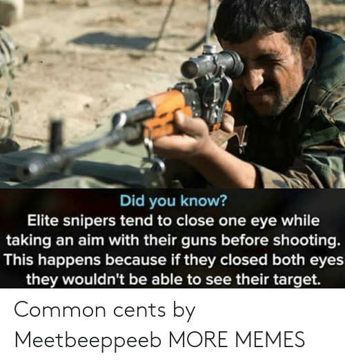 Dank, Guns, and Memes: Did you know?  Elite snipers tend to close one eye while  taking an aim with their guns before shooting.  This happens because if they closed both eyes  they wouldn't be able to see their target. Common cents by Meetbeeppeeb MORE MEMES