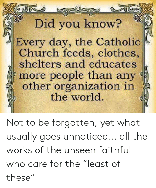 "Church, Clothes, and Memes: Did you know?  Every day, the Catholic  Church feeds, clothes,  shelters and educates  more people than any  other organization in  the world. Not to be forgotten, yet what usually goes unnoticed... all the works of the unseen faithful who care for the ""least of these"""