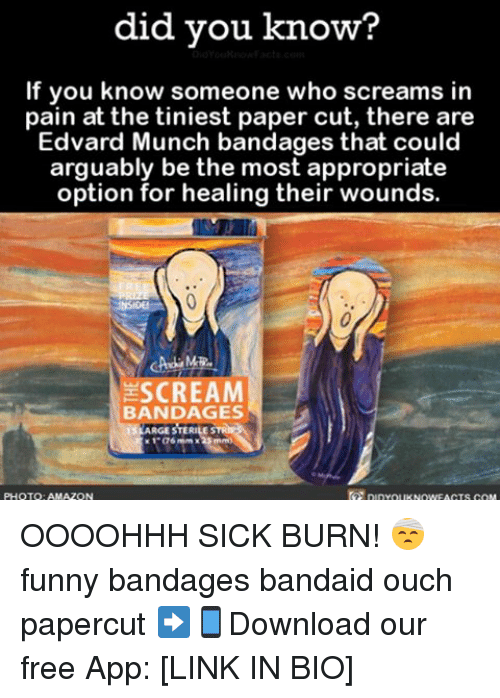 Amazon, Funny, and Memes: did you know?  If you know someone who screams in  pain at the tiniest paper cut, there are  Edvard Munch bandages that could  arguably be the most appropriate  option for healing their wounds.  SCREAM  BANDAGES  ARGESTERILE  1 a6 mm x25 mm  PHOTO: AMAZON OOOOHHH SICK BURN! 🤕 funny bandages bandaid ouch papercut ➡📱Download our free App: [LINK IN BIO]