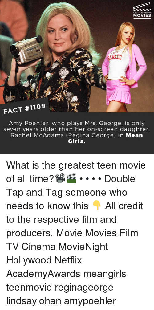 Mean Girls: DID YOU KNoW  MOVIES  AMATIC  FACT #1109  Amy Poehler, who plays Mrs. George, is only  seven years older than her on-screen daughter.  Rachel McAdams (Regina George) in Mean  Girls. What is the greatest teen movie of all time?📽️🎬 • • • • Double Tap and Tag someone who needs to know this 👇 All credit to the respective film and producers. Movie Movies Film TV Cinema MovieNight Hollywood Netflix AcademyAwards meangirls teenmovie reginageorge lindsaylohan amypoehler
