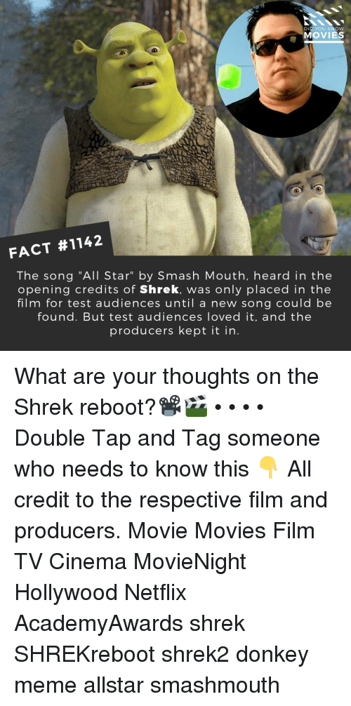 """The Shrek: DID YOU KNOW  MOVIES  FACT #1142  The song """"All Star"""" by Smash Mouth, heard in the  opening credits of Shrek, was only placed in the  film for test audiences until a new song could be  found. But test audiences loved it, and the  producers kept it in What are your thoughts on the Shrek reboot?📽️🎬 • • • • Double Tap and Tag someone who needs to know this 👇 All credit to the respective film and producers. Movie Movies Film TV Cinema MovieNight Hollywood Netflix AcademyAwards shrek SHREKreboot shrek2 donkey meme allstar smashmouth"""