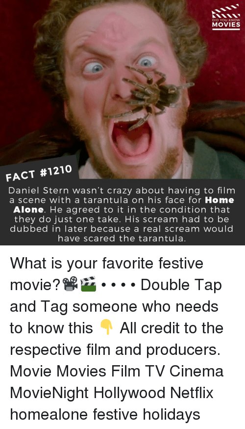 stern: DID YOU KNOW  MOVIES  FACT #1210  Daniel Stern wasn't crazy about having to film  a scene with a tarantula on his face for Home  Alone. He agreed to it in the condition that  they do just one take. His scream had to be  dubbed in later because a real scream would  have scared the tarantula. What is your favorite festive movie?📽️🎬 • • • • Double Tap and Tag someone who needs to know this 👇 All credit to the respective film and producers. Movie Movies Film TV Cinema MovieNight Hollywood Netflix homealone festive holidays