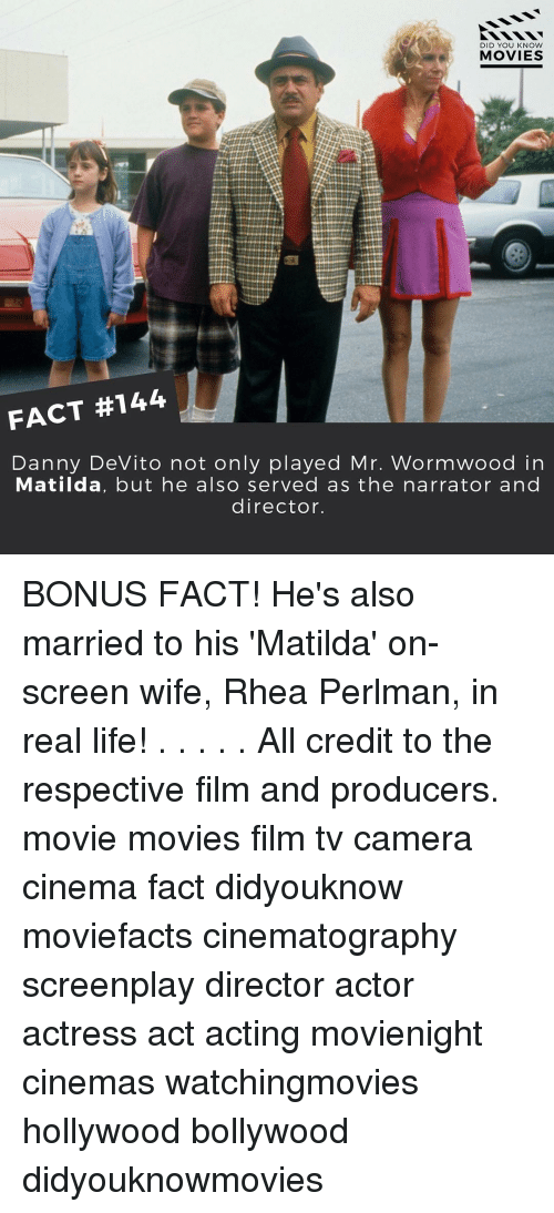 rhea perlman: DID YOU KNOW  MOVIES  FACT #144  Danny DeVito not only played Mr. Wormwood in  Matilda, but he also served as the narrator and  director. BONUS FACT! He's also married to his 'Matilda' on-screen wife, Rhea Perlman, in real life! . . . . . All credit to the respective film and producers. movie movies film tv camera cinema fact didyouknow moviefacts cinematography screenplay director actor actress act acting movienight cinemas watchingmovies hollywood bollywood didyouknowmovies
