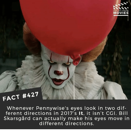 moving in: DID YOU KNOW  MOVIES  FACT #427  Whenever Pennywise's eyes look in two dif-  ferent directions in 2017's It, it isn't CGI. Bill  Skarsgård can actually make his eyes move in  different directions.