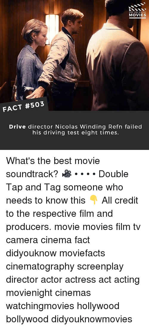 winding: DID YOU KNOw  MOVIES  FACT #503  Drive director Nicolas Winding Refn failed  his driving test eight times. What's the best movie soundtrack? 🎥 • • • • Double Tap and Tag someone who needs to know this 👇 All credit to the respective film and producers. movie movies film tv camera cinema fact didyouknow moviefacts cinematography screenplay director actor actress act acting movienight cinemas watchingmovies hollywood bollywood didyouknowmovies