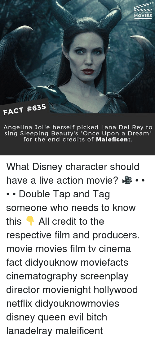 """Angelina Jolie: DID YOU KNOW  MOVIES  FACT #635  Angelina Jolie herself picked Lana Del Rey to  sing Sleeping Beauty's """"Once Upon a Dream""""  for the end credits of Maleficent. What Disney character should have a live action movie? 🎥 • • • • Double Tap and Tag someone who needs to know this 👇 All credit to the respective film and producers. movie movies film tv cinema fact didyouknow moviefacts cinematography screenplay director movienight hollywood netflix didyouknowmovies disney queen evil bitch lanadelray maleificent"""