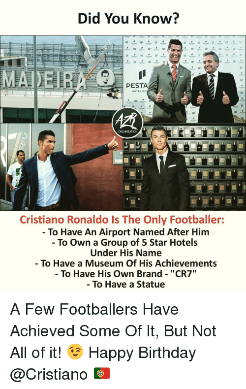 "Birthday, Cristiano Ronaldo, and Memes: Did You Know?  PESTA  HOTEL GR  c7  ORGANIZATION  Cristiano Ronaldo Is The Only Footballer:  - To Have An Airport Named After Him  - To Own a Group of 5 Star Hotels  Under His Name  To Have a Museum Of His Achievements  - To Have His Own Brand - ""CR7  To Have a Statue A Few Footballers Have Achieved Some Of It, But Not All of it! 😉 Happy Birthday @Cristiano 🇵🇹"