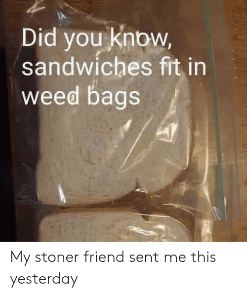 bags: Did you know,  sandwiches fit in  weed bags My stoner friend sent me this yesterday
