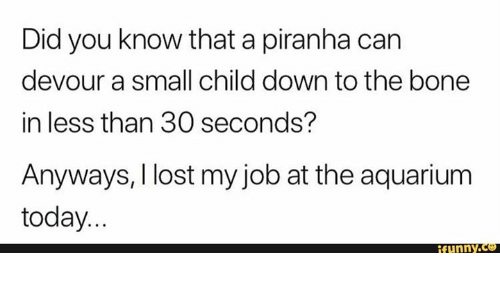 devour: Did you know that a piranha can  devour a small child down to the bone  in less than 30 seconds?  Anyways, I lost my job at the aquarium  today...  funny.