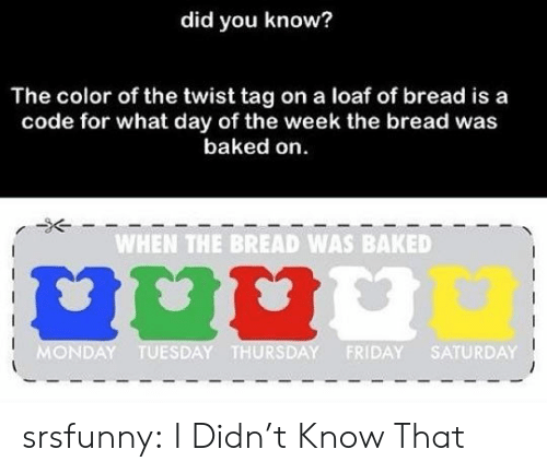 the twist: did you know?  The color of the twist tag on a loaf of bread is a  code for what day of the week the bread was  baked on  WHEN THE BREAD WAS BAKED  MONDAY TUESDAY THURSDAY FRIDAY SATURDAY srsfunny:  I Didn't Know That