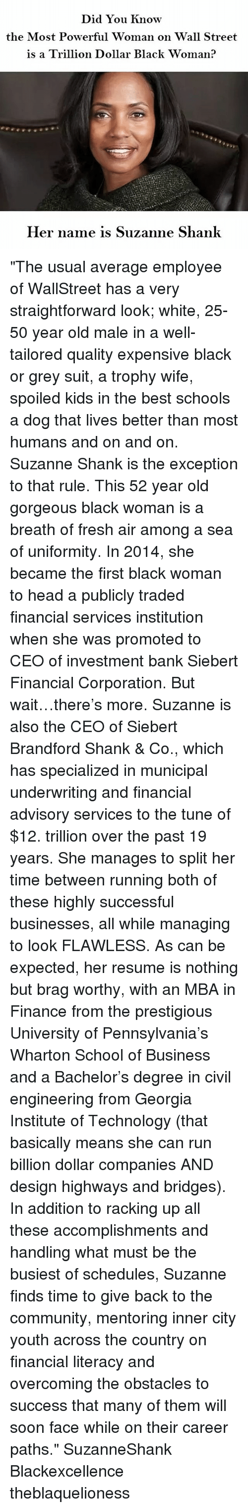 """shank: Did You know  the Most Powerful Woman on Wall Street  is a Trillion Dollar Black woman?  Her name is Suzanne Shank """"The usual average employee of WallStreet has a very straightforward look; white, 25-50 year old male in a well-tailored quality expensive black or grey suit, a trophy wife, spoiled kids in the best schools a dog that lives better than most humans and on and on. Suzanne Shank is the exception to that rule. This 52 year old gorgeous black woman is a breath of fresh air among a sea of uniformity. In 2014, she became the first black woman to head a publicly traded financial services institution when she was promoted to CEO of investment bank Siebert Financial Corporation. But wait…there's more. Suzanne is also the CEO of Siebert Brandford Shank & Co., which has specialized in municipal underwriting and financial advisory services to the tune of $12. trillion over the past 19 years. She manages to split her time between running both of these highly successful businesses, all while managing to look FLAWLESS. As can be expected, her resume is nothing but brag worthy, with an MBA in Finance from the prestigious University of Pennsylvania's Wharton School of Business and a Bachelor's degree in civil engineering from Georgia Institute of Technology (that basically means she can run billion dollar companies AND design highways and bridges). In addition to racking up all these accomplishments and handling what must be the busiest of schedules, Suzanne finds time to give back to the community, mentoring inner city youth across the country on financial literacy and overcoming the obstacles to success that many of them will soon face while on their career paths."""" SuzanneShank Blackexcellence theblaquelioness"""