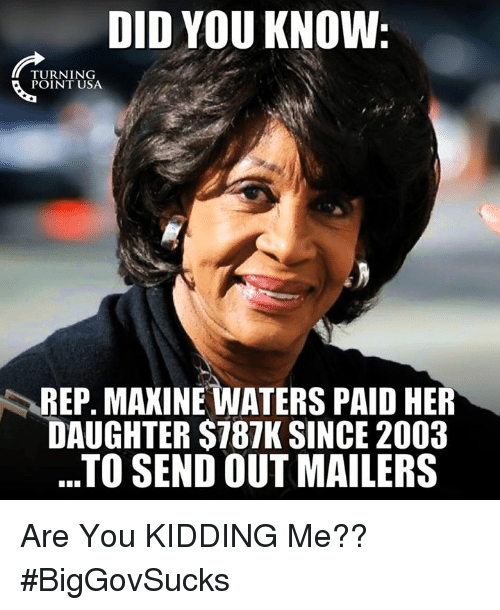 Memes, 🤖, and Her: DID YOU KNOW  TURNING  REP. MAXINE WATERS PAID HER  DAUGHTER $787K SINCE 2003  ..TO SEND OUT MAILERS Are You KIDDING Me?? #BigGovSucks