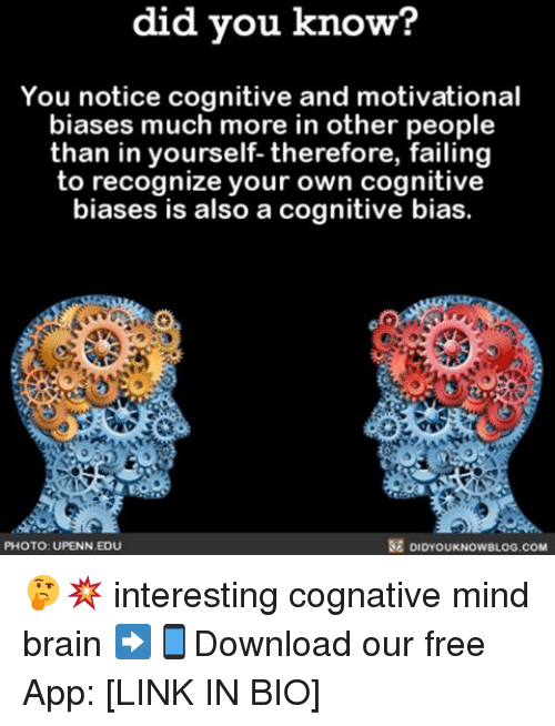 Motivationals: did you know?  You notice cognitive and motivational  biases much more in other people  than in yourself- therefore, failing  to recognize your own cognitive  biases is also a cognitive bias.  PHOTO: UPENN EDU  DIDYOUKNOWBLOG.COM 🤔💥 interesting cognative mind brain ➡📱Download our free App: [LINK IN BIO]