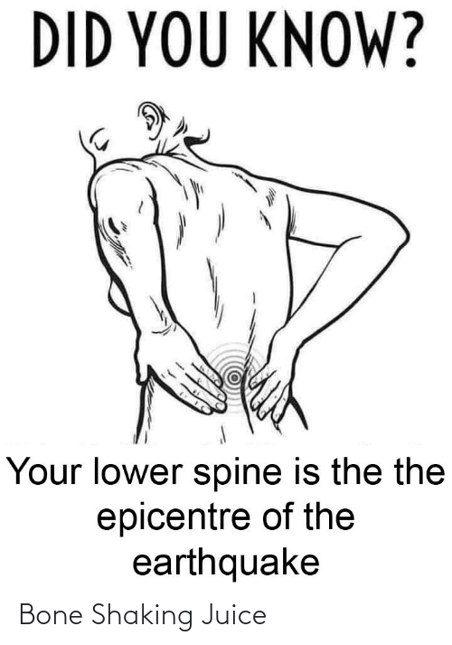 Juice: DID YOU KNOW?  Your lower spine is the the  epicentre of the  earthquake Bone Shaking Juice