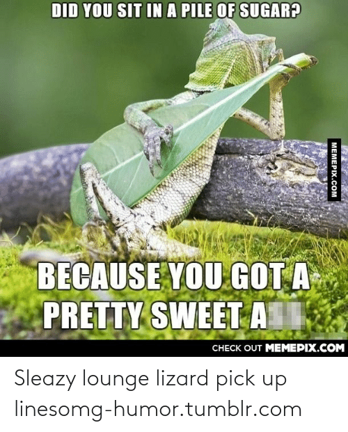 You Sit: DID YOU SIT INA PILE OF SUGAR?  BECAUSE YOU GOT A  PRETTY SWEET A  CHECK OUT MEMEPIX.COM  МЕМЕРIХ.СOм Sleazy lounge lizard pick up linesomg-humor.tumblr.com