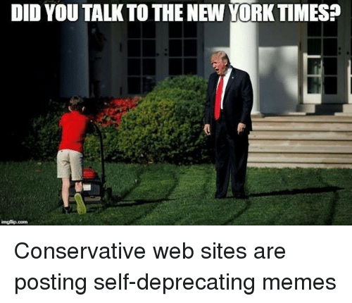 Memes, New York, and New York Times: DID YOU TALKTO THE NEW YORK TIMES?  @w Conservative web sites are posting self-deprecating memes