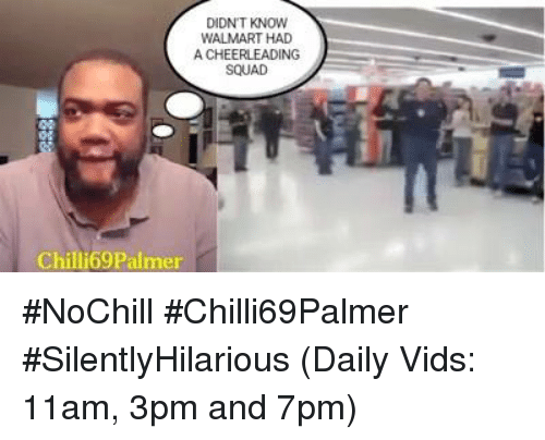 Memes, Walmart, and Cheerleader: DIDN'T KNOW  WALMART HAD  A CHEERLEADING  SQUAD  Chill Palmer #NoChill  #Chilli69Palmer  #SilentlyHilarious  (Daily Vids:  11am, 3pm and 7pm)