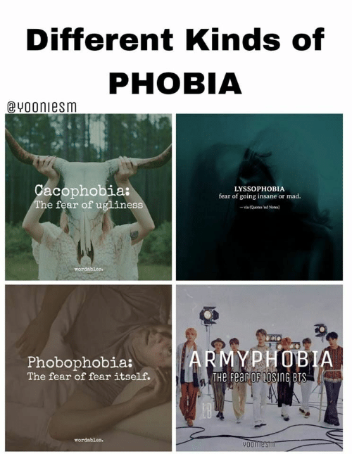 Quotes, Mad, and Bts: Different Kinds of  PHOBIA  @vooniesm  acophobia:  he fear of uglines  LYSSOPHOBIA  fear of going insane or mad  - va (Quotes 'nd Notes)  MYPHOBIA  Phobophobia:  The fear of fear itself.  THe Fear OF LOSING BTS  wordables  900
