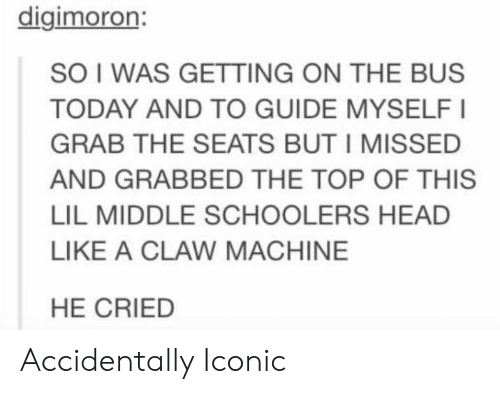 Grab The: digimoron:  SO I WAS GETTING ON THE BUS  TODAY AND TO GUIDE MYSELFI  GRAB THE SEATS BUT I MISSED  AND GRABBED THE TOP OF THIS  LIL MIDDLE SCHOOLERS HEAD  LIKE A CLAW MACHINE  HE CRIED Accidentally Iconic